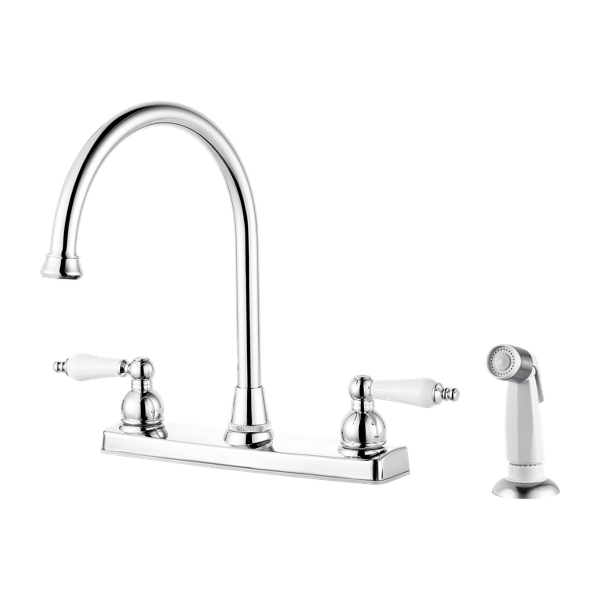 Polished Chrome Henlow F036-4HLC 2-Handle Kitchen Faucet ...